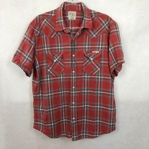 Lucky Brand Red Plaid Short Sleeve Button Shirt XL